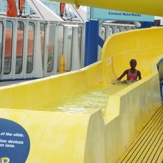 Nassau, Bahamas - daughter on the slide on the ship