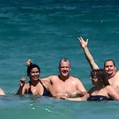 Philipsburg, St. Maarten - The gang at Orient Beach - St. Maarten