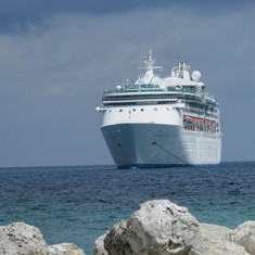 Cococay (Cruiseline's Private Island) - The Ship Anchored