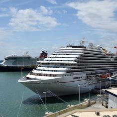 View of Carnival Magic & Disney Ship in Port
