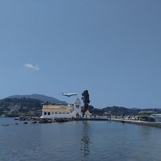 Corfu Greece plane landing 100 feet from the monastery