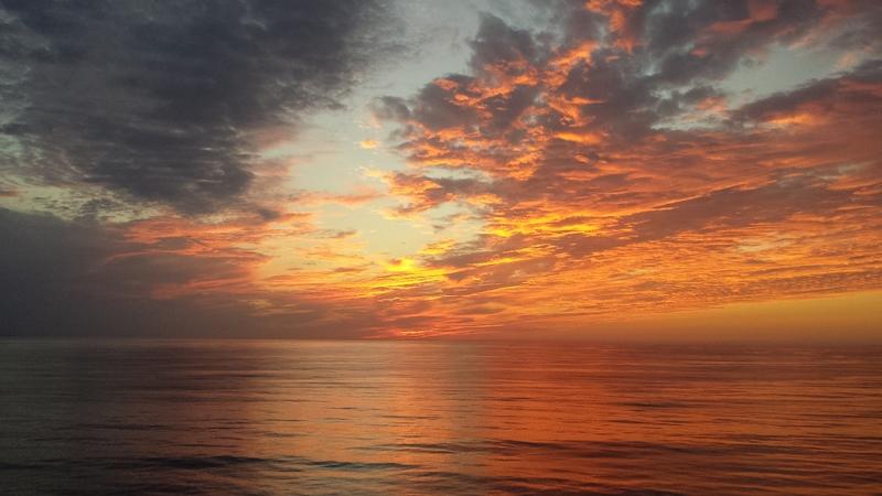 Beatiful sunset somewhere off coast of Santa Barbara