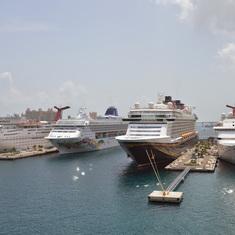 Carnival, Norwegian, Disney, Carnival  ships docked.