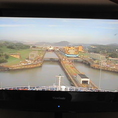 Entering the Miraflores Locks as seen on the TV in cabin.