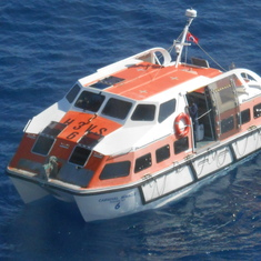 One of the Miracle's life boats, used as a tender.