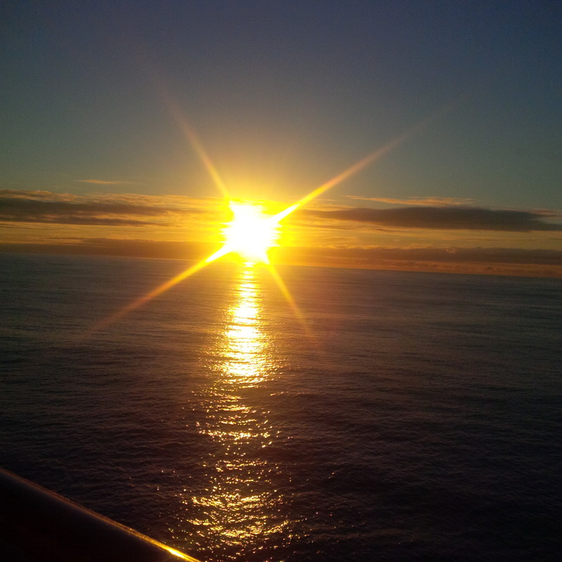 Pacific sunrise from balcony - Carnival Miracle