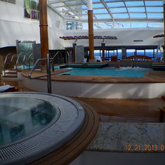 Indoor pool.  Heated and lots of massaging jets