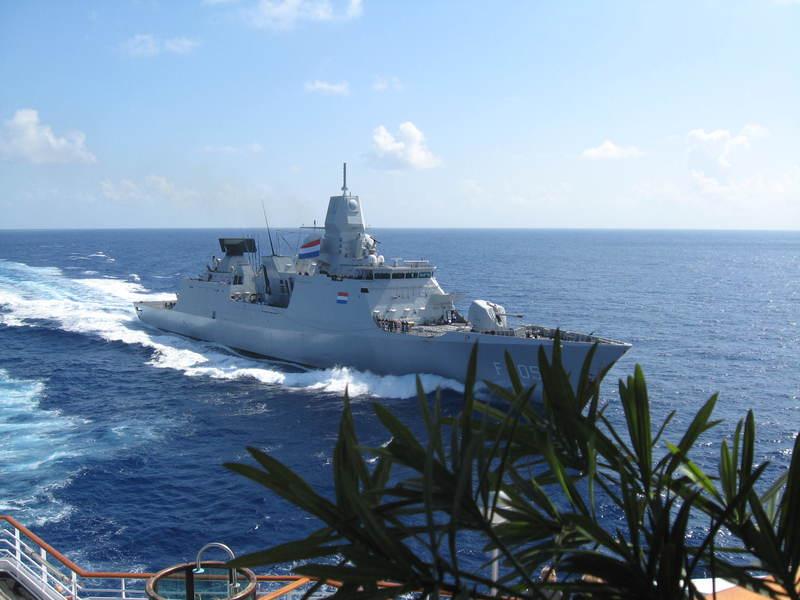 Our Dutch warship escort for four days, Somalia coast --Kenya to Oman   - Prinsendam