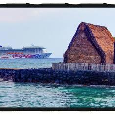 Kailua Kona and ship