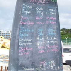 The arrivals board at Maho Beach.