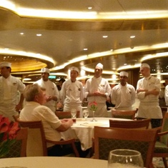 Wonderful crew in the main dining room aboard Ruby Princess