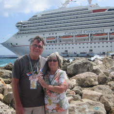 Willemstad, Curacao - A great Cruise Ship with crew smiling all the time with FUN, FUN, FUN