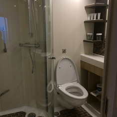 Large shower with glass enclosure and hand-held shower head.