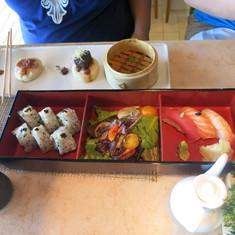 Lunching at the Bonsai sushi spot.