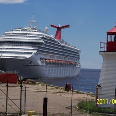 Saint John, New Brunswick - Our ship and a lighthouse.
