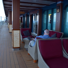 The Waterfront on Deck 8 is a great place to stroll or to grab a book and relax.