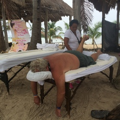 Costa Maya (Mahahual), Mexico - Great inexpensive massages on the beach.
