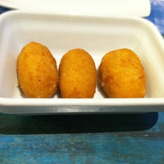 Barcelona, Spain - Croquettes at Casa Guinart restaurant