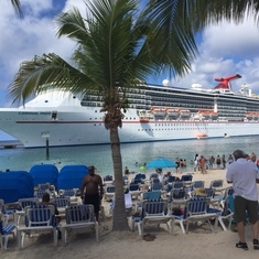 Carnival Pride at Grand Turk & the beach at Margaritaville