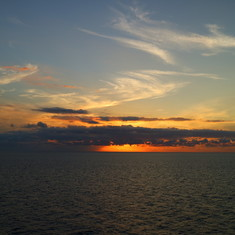 Western Caribbean Sunset on our way to Costa Maya from Belize