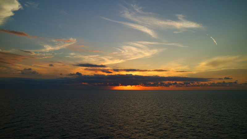 Costa Maya (Mahahual), Mexico - Western Caribbean Sunset on our way to Costa Maya from Belize