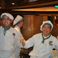 Pizza makers dancing in Alfredo's on Royal Princess