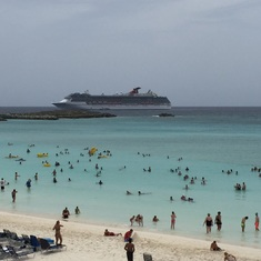 Half Moon Cay beach, seen from Captain Morgan bar.