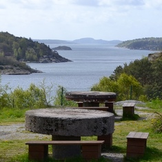 Goteborg (Gothenburg), Sweden - Milestone picnic tables in Sweden