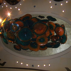 Chandelier in the atrium by Dale Chihuly