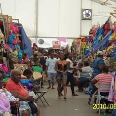 Nassau, Bahamas - Straw market tent in Nassau.
