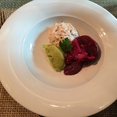 Crab salad with beets in main dining room at lunch