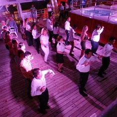 Crew/staff line dancing