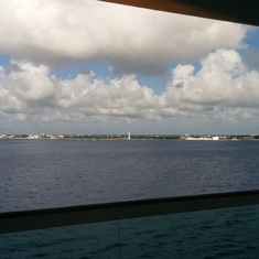 Costa Maya (Mahahual), Mexico - Lighthouse at Costa Maya as we departed...view from our balcony stateroom.