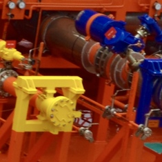 A tanker ship's colorful valves caught my eye.