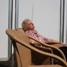 Alaska Inside Passage 2006.  My wife enjoying a bit of sun on our balcony.