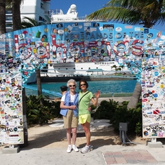 Nassau, Bahamas - Welcome to the Bahamas or Sticker Island, sa the sign has become.