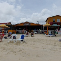 Beach Bar at Runaway Bay. We were the only ship in Port so no crowds. Loved it!