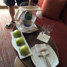 Upon arrival Champagne and Apples...fruit everyday!