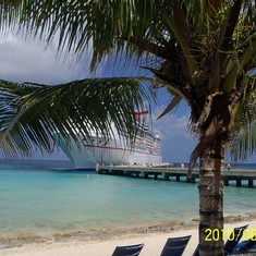 Our ship through the trees in Grand Turk.
