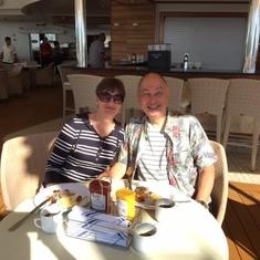 Enjoying lunch on deck 12