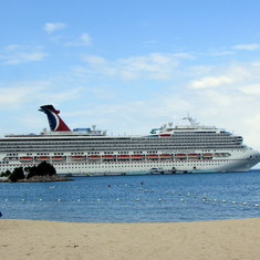 Ship from the beach at Ocho Rios