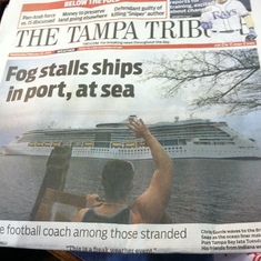 Front page news but Royal Caribbean couldn't contact us to let us know