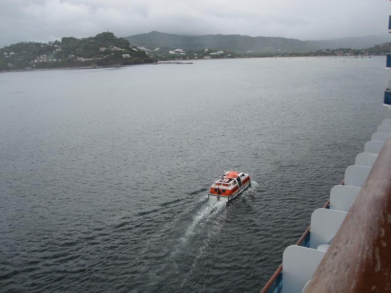 San Juan Del Sur, Nicaragua - tender boat (aka life boat) headed to shore