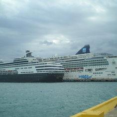 Holland American ship docking beside the Jewel