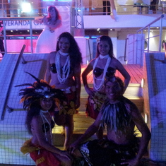 Dancers on board the ship