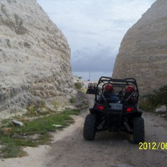 Lime stone quarry that we drove through on the dune buggy excursion.