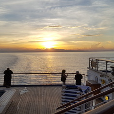 Sunset off of the aft