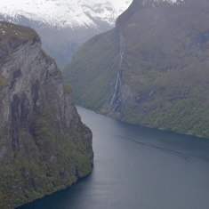 Geiranger, Norway - From above, a glimpse at the Seven Sisters
