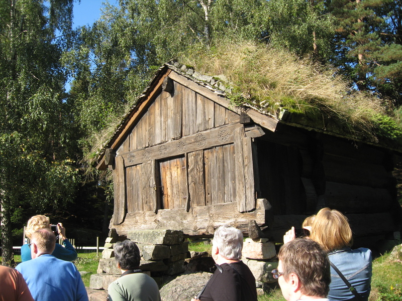 Ancient food cache, restored, at outdoor museum, Norway  - Royal Princess