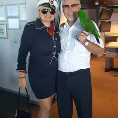 With Captain Johnny and he is parrots AJ